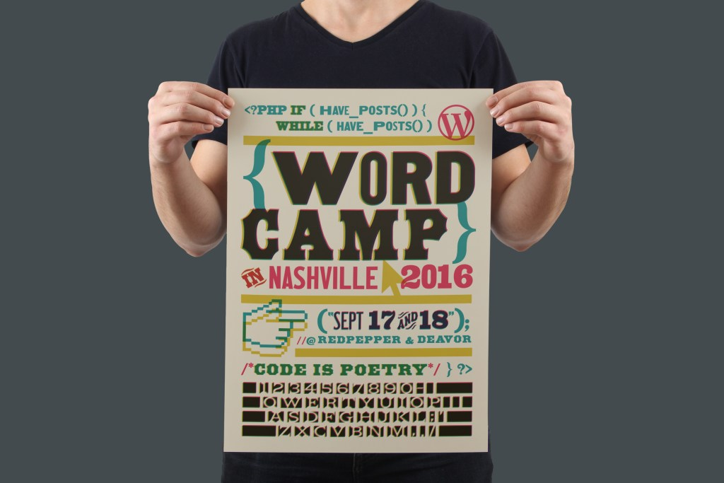 The promo poster & postcards utilize this cheeky letterpress/WordPress programming code combo.
