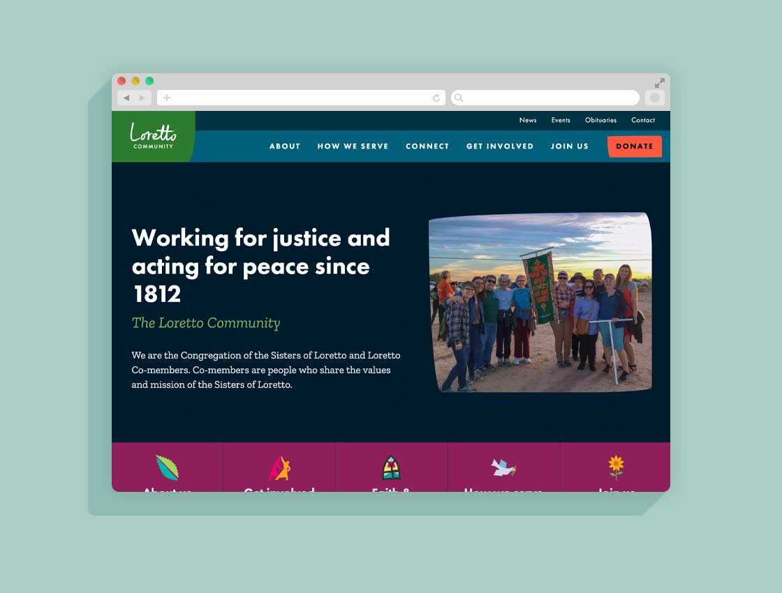 A screenshot of Loretto Community's vibrant brand identity, extended to a visually pleasing and usable website homepage.