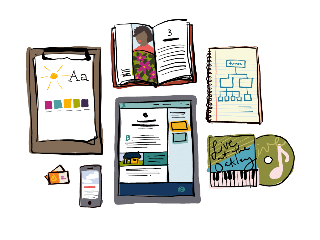 From printed books to websites to album art to business cards, we're here to help you plan your project and keep everything organized, beautiful, and functional.