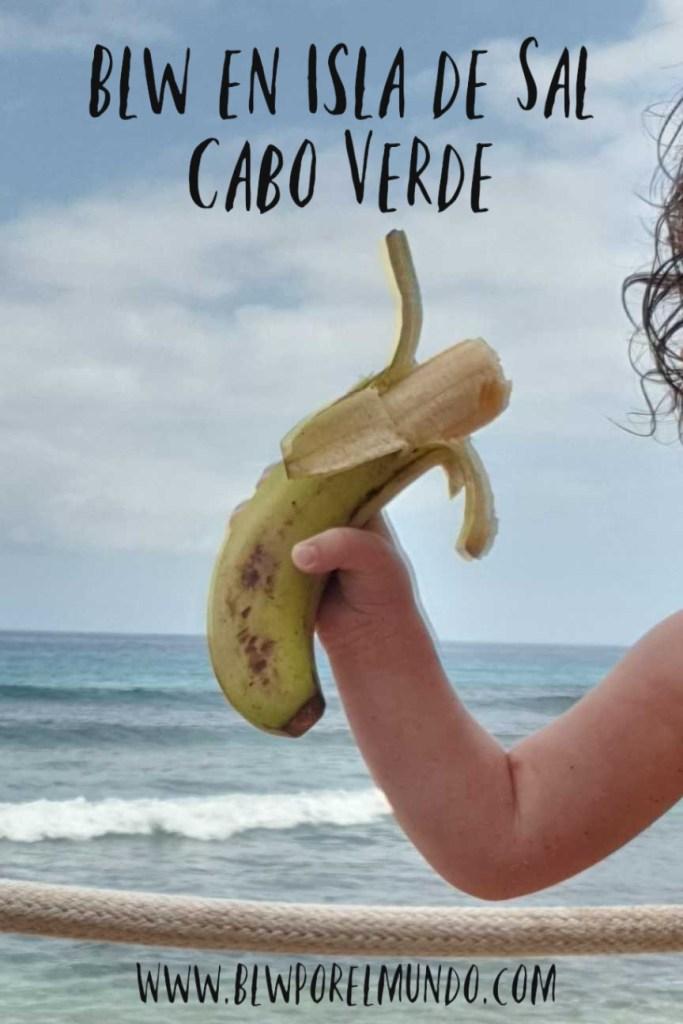 Blw en Isla de Sal. Plátano con el mar de fondo