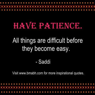 Patience Quotes-Have patience. All things are difficult before they become easy.