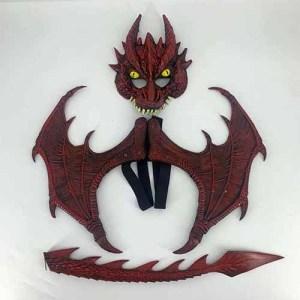 סט דרקון אדום 3 חלקים מסכה כנפיים וזנב דגם חדש 2021