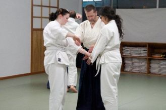 Sensei Chuck Hauk teaching beginning aikido students
