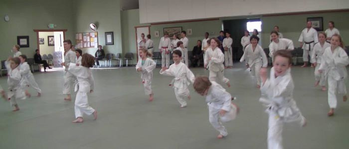 kids karate running- Children's martial arts