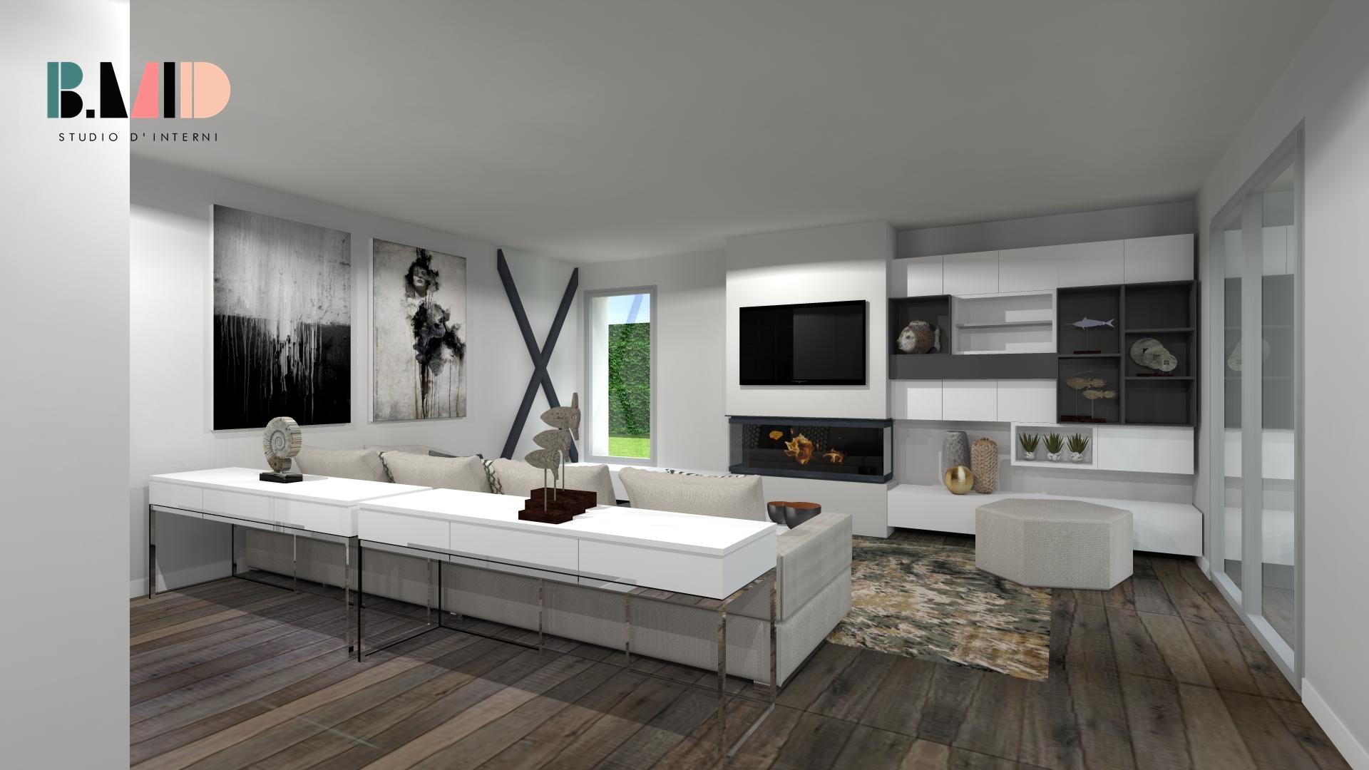Arredamento moderno salotto con camino good soggiorno con for Salotto con camino arredamento