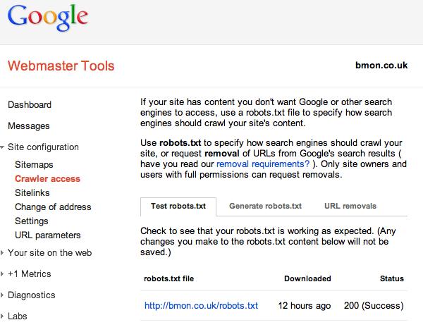 Webmaster Tools robots.txt screen