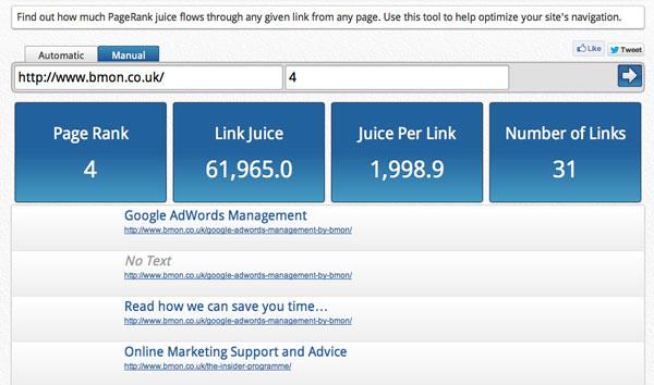 PageRank Juice Calculator