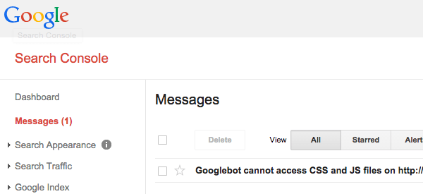 Google Search Console message