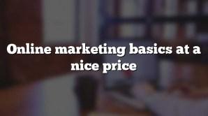 Online marketing basics at a nice price