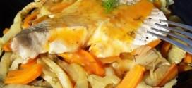 Lieu noir sur lit de fenouil et carottes braisés, sauce aux agrumes 4
