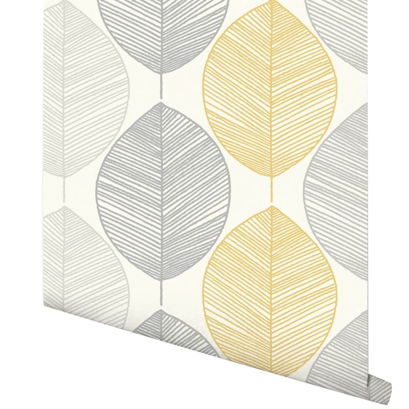 Scandi Leaf Wallpaper Yellow Wallpaper BampM