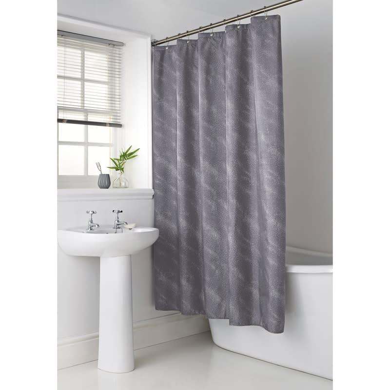 sparkle shower curtain grey
