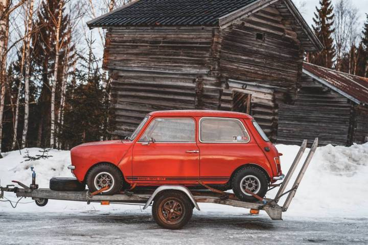 Classic Mini on trailer