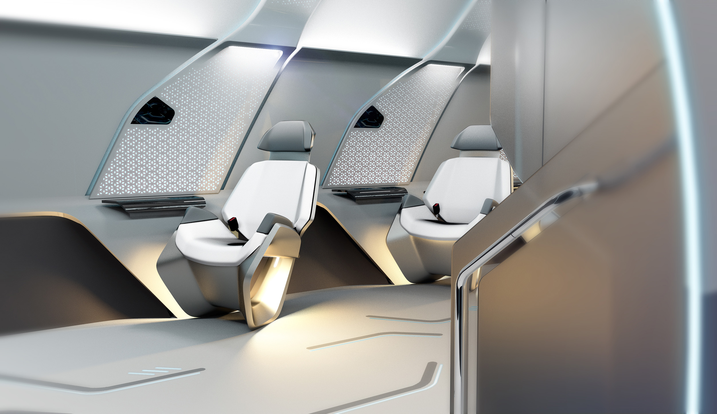 hyperloop seats from the entrance of the capsule
