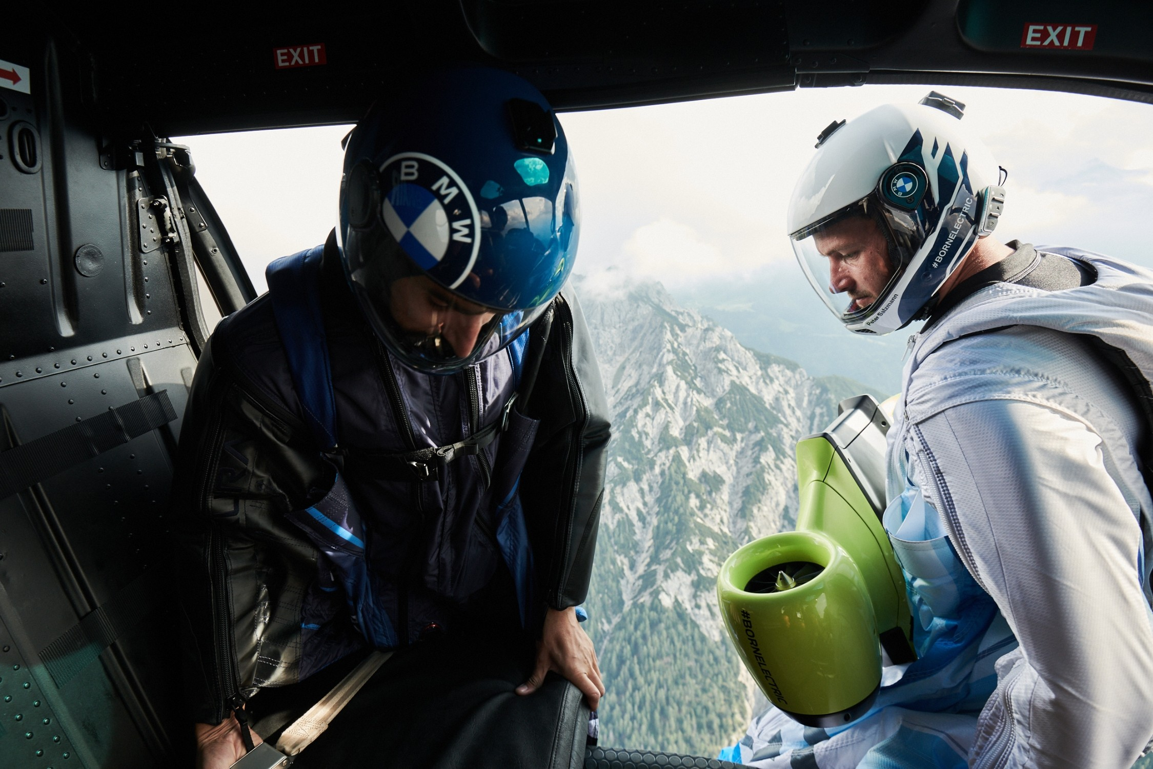 Preparing to jump with the BMW Wingsuit
