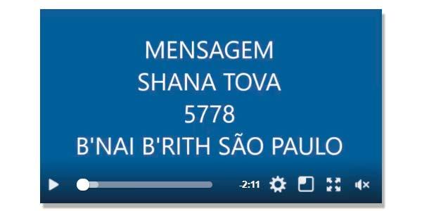 Mensagem de Rosh Hashana - 5778