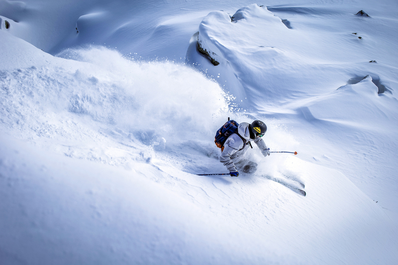 Skiing in the deep snow