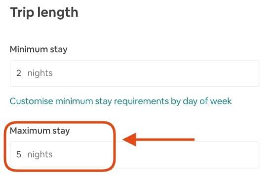 Set Maximum Number Of Nights in Airbnb