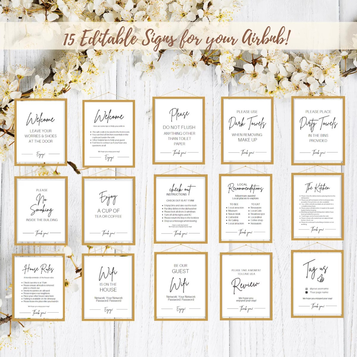 15 Editable Airbnb Posters! Template Bundle