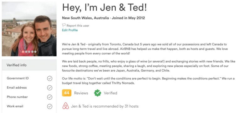 Airbnb Profile Example 5