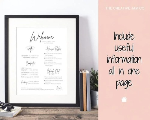 Airbnb Welcome Sign Template 1