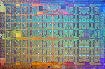 An image of the Xeon Phi Knights Landing processor die
