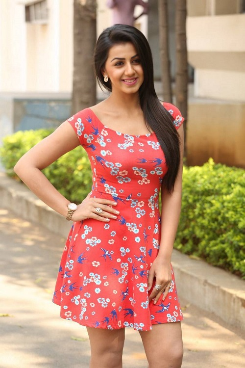 Nikki Galrani Hot Photos In Red Floral Frock Skirt