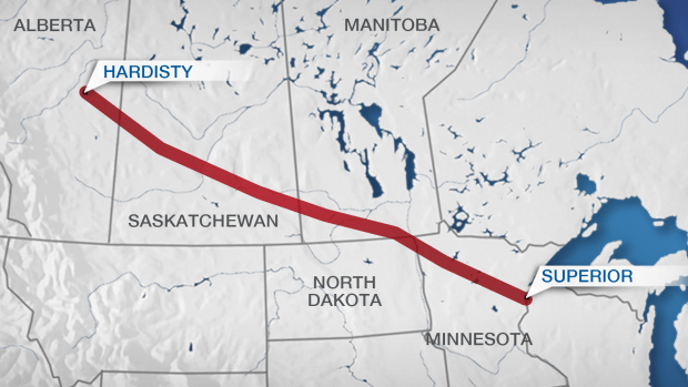 Line 3 would replace a decades-old conduit that runs from Hardisty, Alta., to Superior, Wisc., and double its capacity. (BNN Graphics)