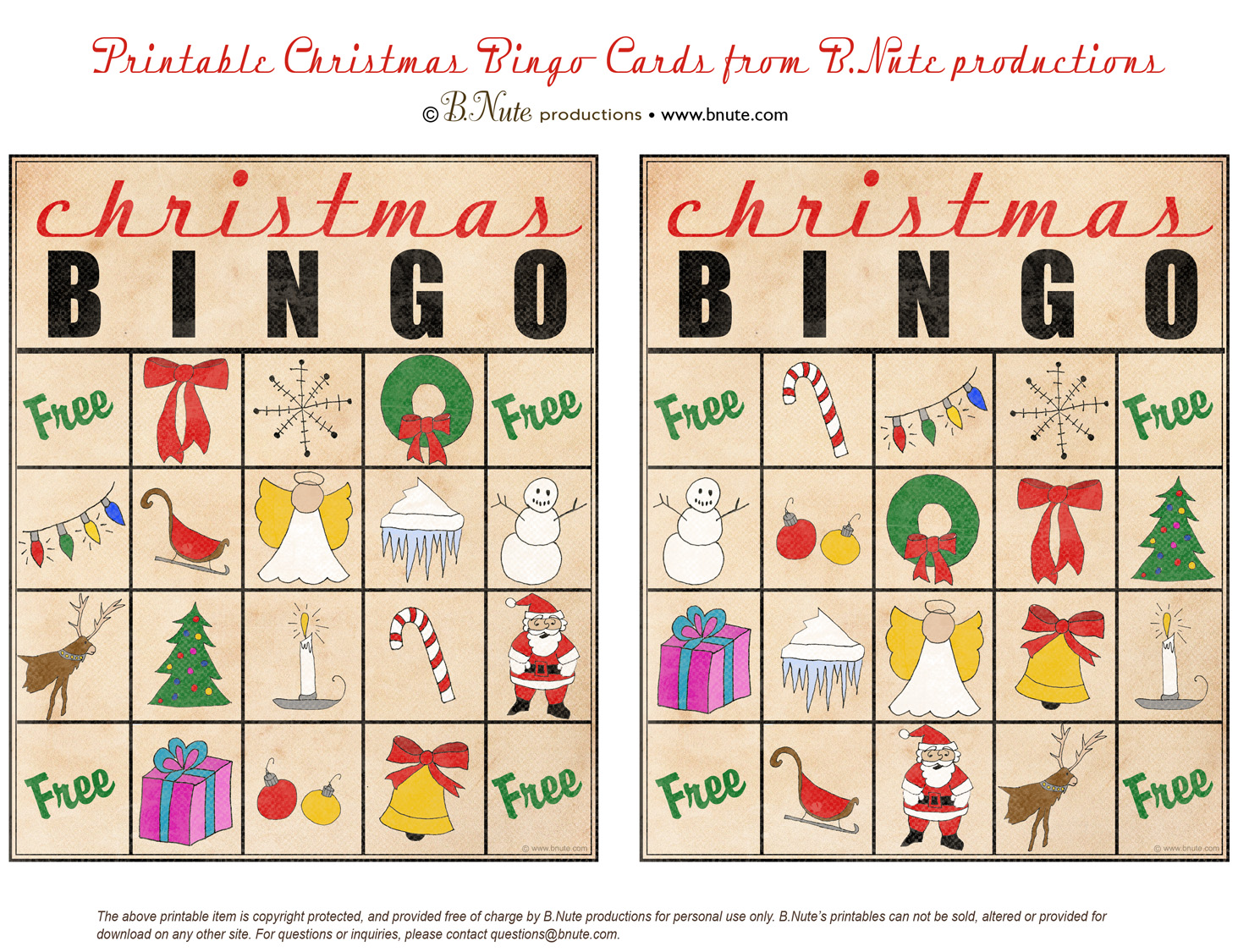 Bnute Productions Free Printable Christmas Bingo Cards