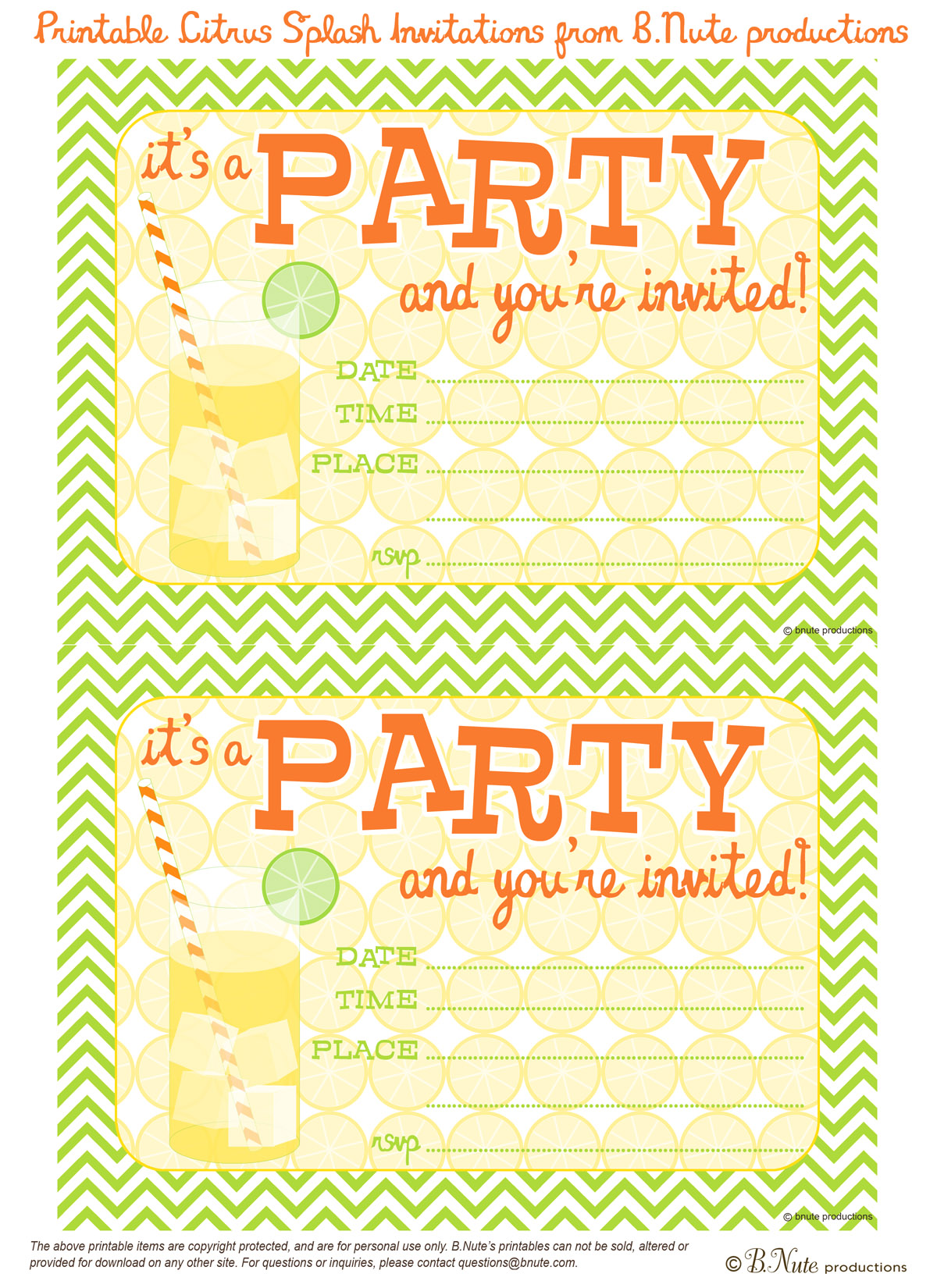 Free Printable Party Invitations
