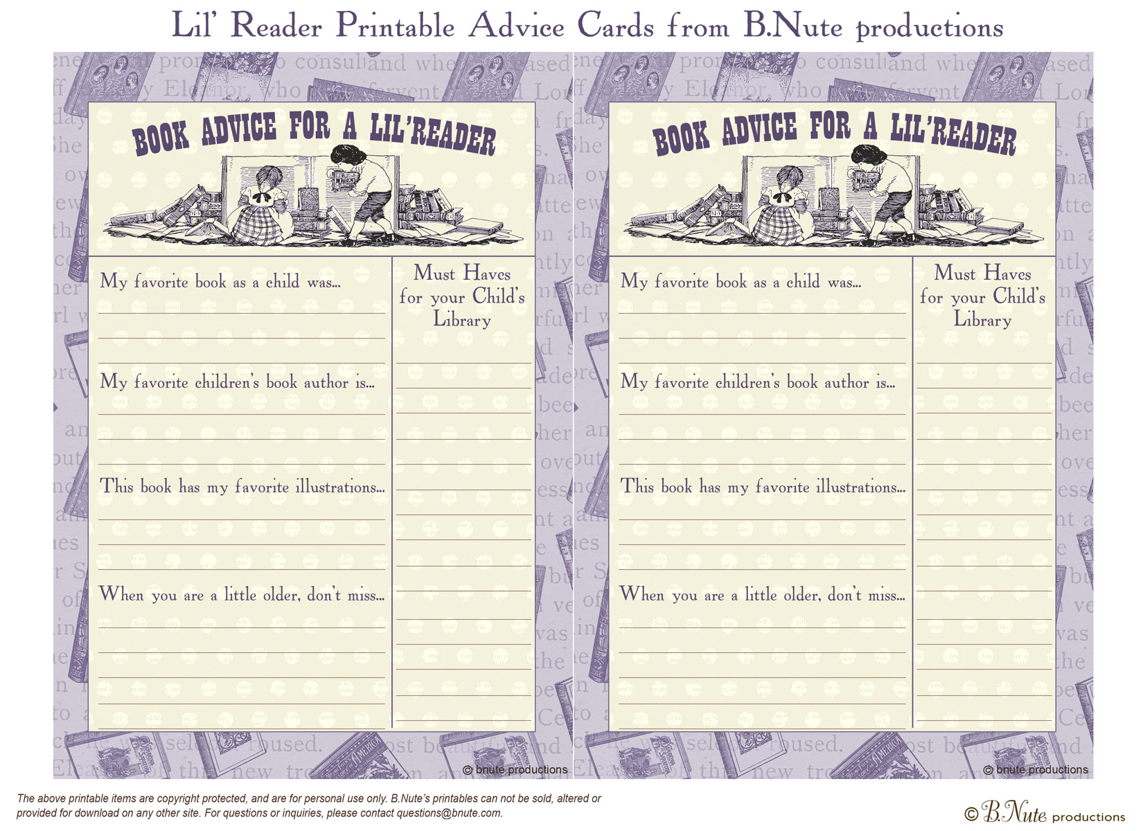 Bnute Productions Free Printable Lil Reader Book Advice Card