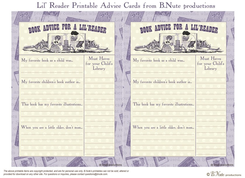 Free Printable Lil Reader Advice Card From B Nute Ions