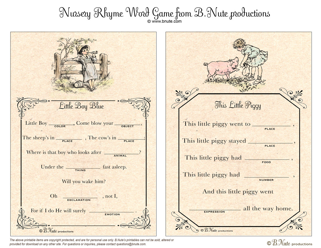 Bnute Productions Free Printable Nursery Rhyme Word Game