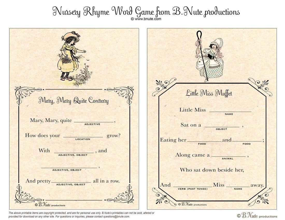 Bnute Productions Free Printable Nursery Rhyme Word Game