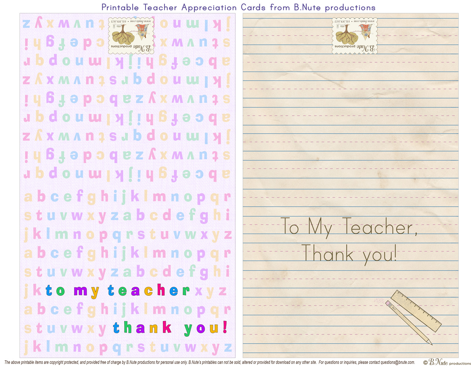 Bnute Productions Free Printable Teacher Appreciation Cards