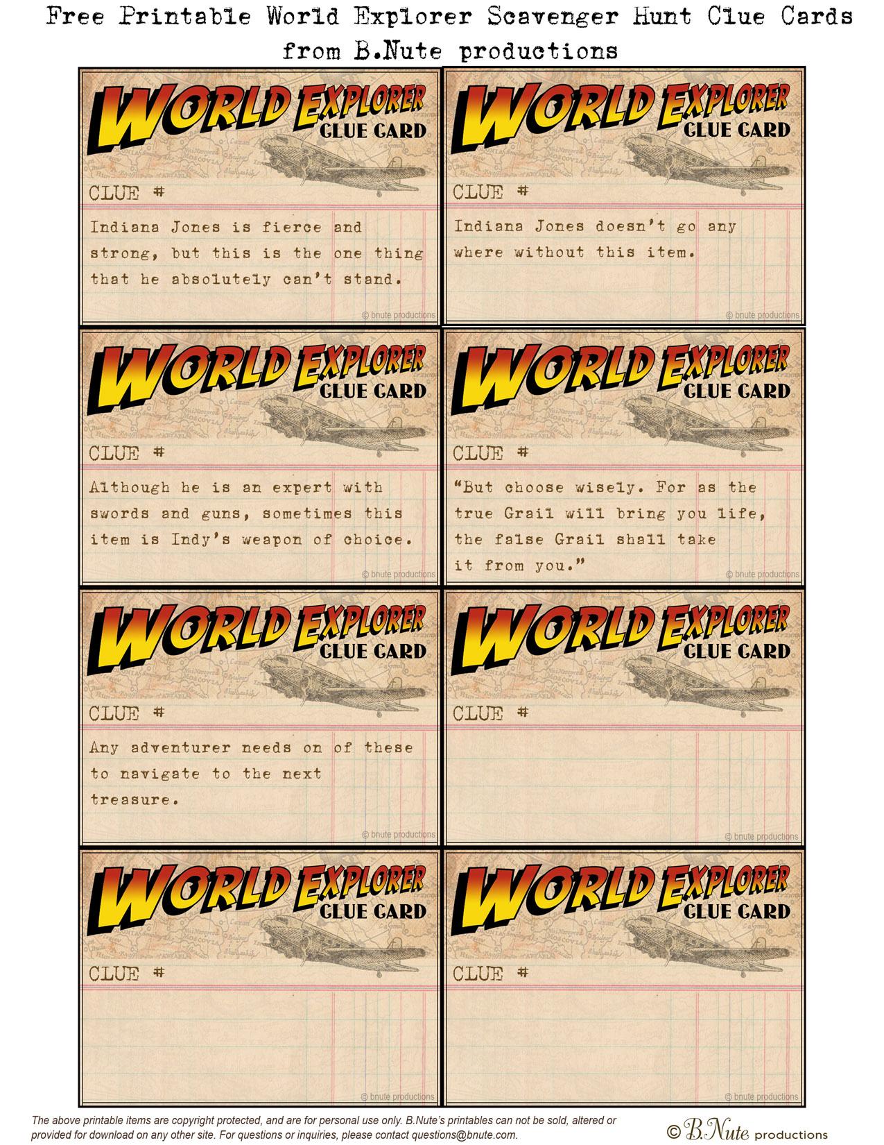 Bnute Productions Free Printable World Explorer Indiana Jones Scavenger Hunt Game