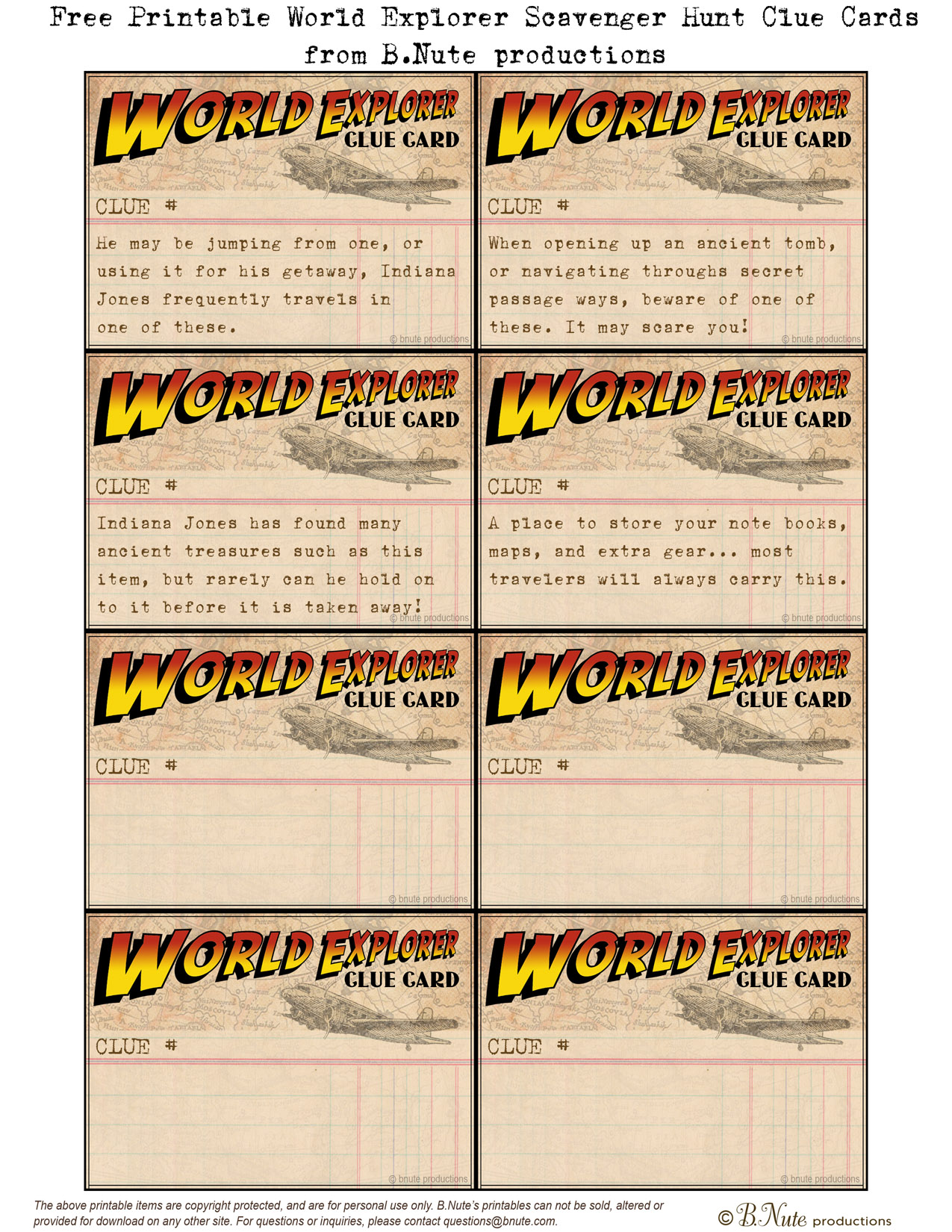 Bnute Productions Free Printable World Explorer Indiana Jones Scavenger Hunt Game