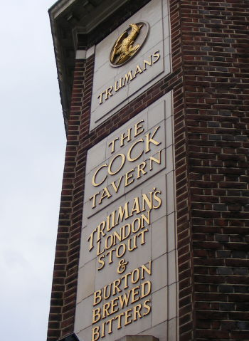 The Cock Taver, Hackney, with old Truman livery advertising London Stout and Burton Brewed Beers