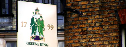 The sign outside a Greene King pub in London.