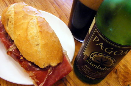Serrano ham roll and Pagoa stout in San Sebastian