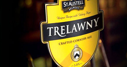 Hand pump for St Austell's Trelawny ale.