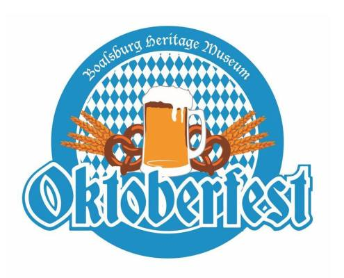 Logo of Boalsburg Heritage Museum's Oktoberfest with beer and pretzels
