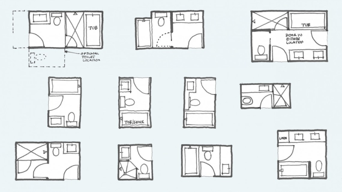 Common Bathroom Floor Plans: Rules of Thumb for Layout ...
