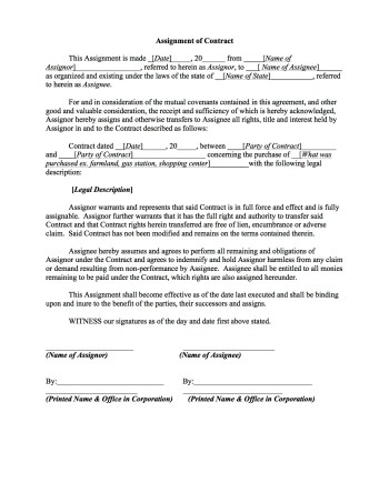 Assignment Of Real Estate Contract Template Word Pdf