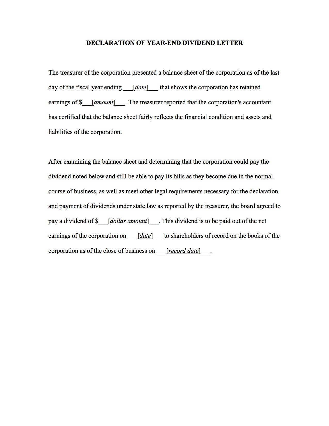 Declaration Of Year End Dividend Letter Template