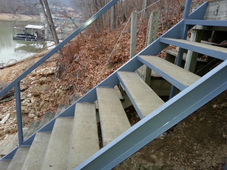 Steel Stairs With Concrete Treads Norris Lake Caryville Tn Area | Steel And Concrete Stairs | Welding | Smooth | Cantilevered | Industrial | Cement