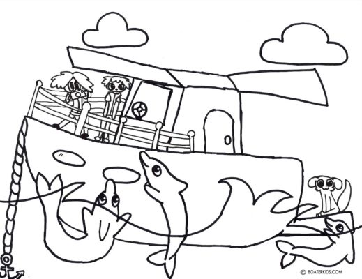image relating to Printable Drawing identify Boating Printable Coloring Site for Children: Dolphin Swim