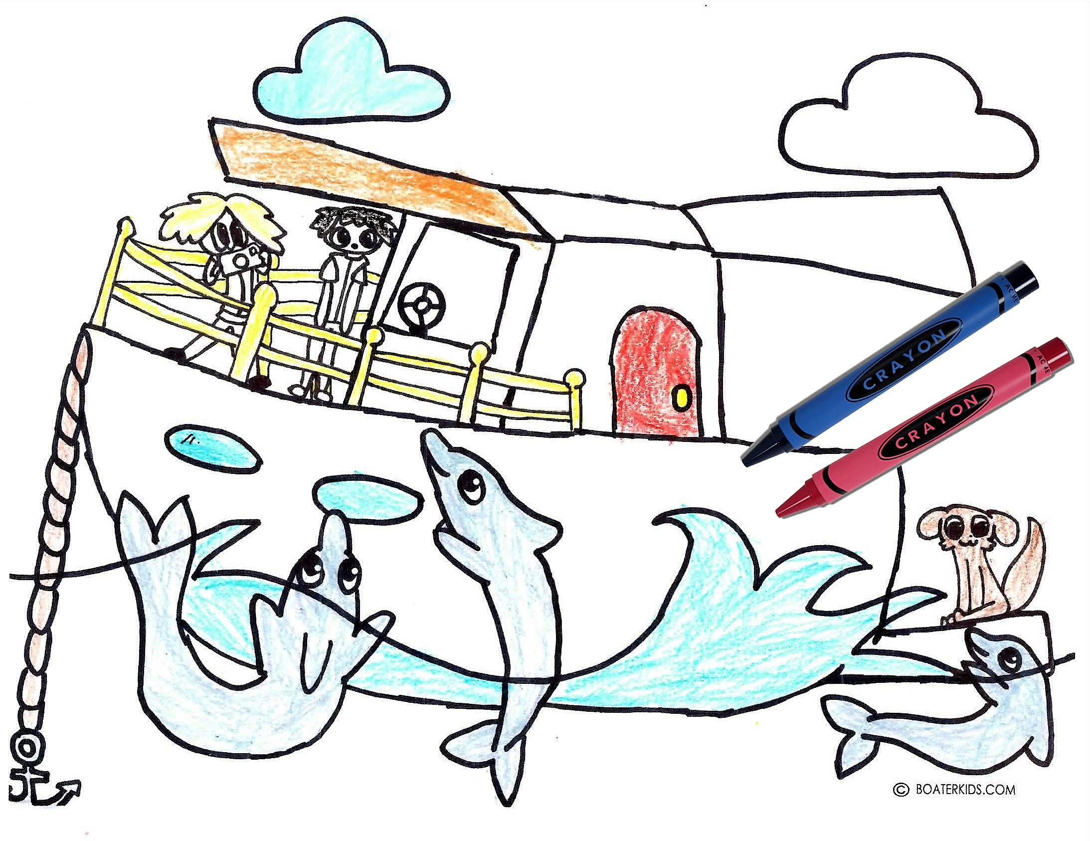 photo about Are You My Mother Printable Book called Boating Printable Coloring Webpage for Children: Dolphin Swim