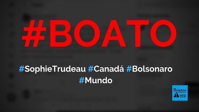 Primeira-dama do Canadá, Sophie Trudeau, faz piada sobre Eduardo Bolsonaro, indicação para embaixada e hambúrguer, diz boato (Foto: Reprodução/Facebook)