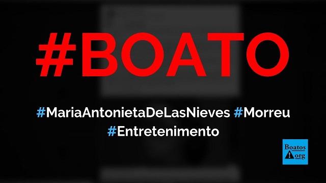 Maria Antonieta de Las Nieves, a Chiquinha, morreu aos 68 anos de idade, diz boato (Foto: Reprodução/FacebooK)